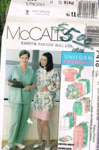 *0418 / 9644 Sewing Pattern Ladies Uniform Scrubs Cardigan Hat 22 24 26