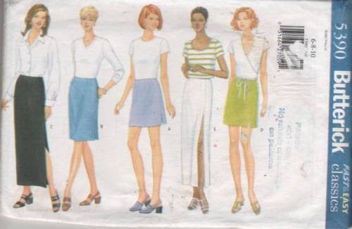 5390 Sewing Pattern Butterick Ladies Skirt with Variations 6 8 10