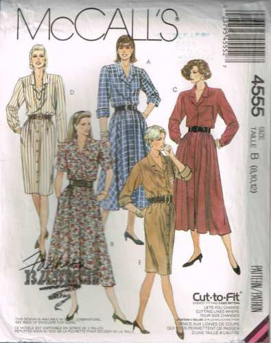 4555 Sewing Pattern Vintage McCall's Ladies Button Front Dress 8, 10, 12
