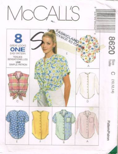 8620 Sewing Pattern McCall's Ladies Blouse Tie Front 10 12 14
