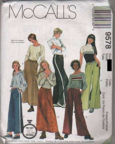 9578 Sew Pattern McCall's Ladies Easy 90 Minute Loose Pants and Skirts XS (4-6)