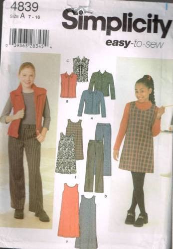 *4839 Sewing Pattern Girls Jumper Vest Top Pants Shorts 7 8 10 12 14 16