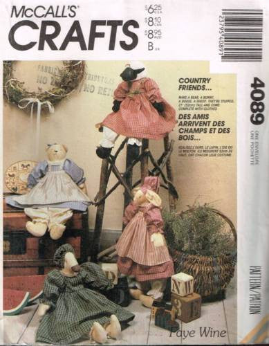 "4089 Sewing Pattern McCall's ""Country Friends"" Bear Bunny Goose Sheep 21"""