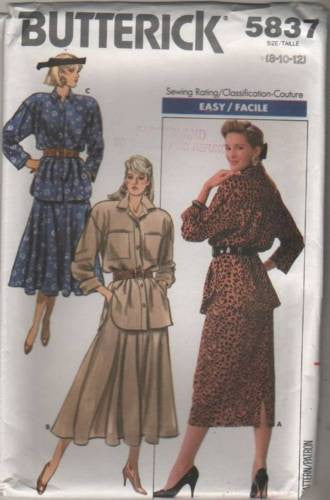 5837 Sewing Pattern Vintage Butterick Ladies Shirt and Skirt 8 10 12