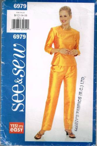 6979 Sewing Pattern Butterick Ladies Top and Pants  12 14 16