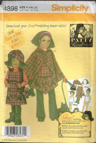 4898 Sewing Pattern Girls Dress Hat and Poncho with Scotty Purse S M L XL