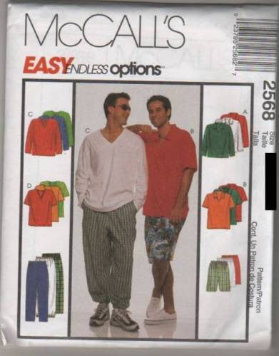 *2568 Sewing Pattern McCall's Mens Easy Endless Options Summer Wear XL (46-48) XX