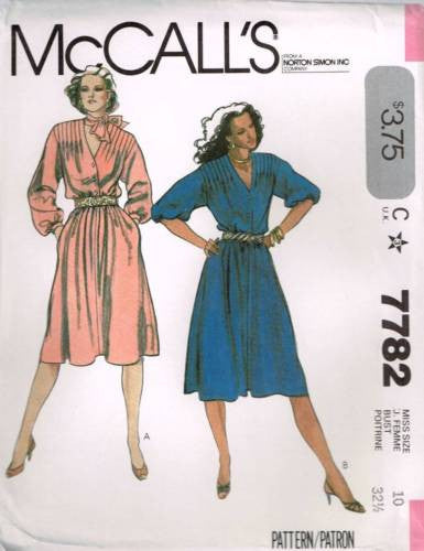 7782 Sewing Pattern McCall's Ladies Dress with Tucks and Button Front 10