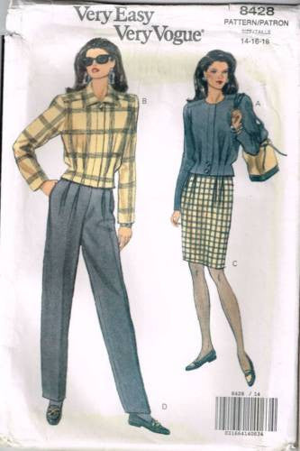 8428 Sewing Pattern Ladies Pleated Jacket Pants and Skirt 14 16 18