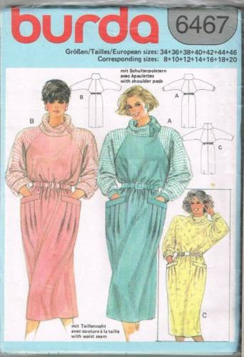 6467 Pattern Burda Ladies Raglan Sleeve Dress Pleated Pocket 8 10 12 14 16 18 20