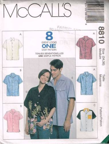 8810 Sewing Pattern McCall's Unisex Shirt Medium 34-36