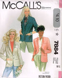7884 Sewing Pattern Vintage McCall's Ladies Blazer Jacket 12