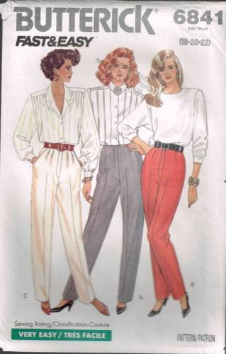 6841 Sewing Pattern Butterick Ladies Pants Trousers Fly Front 18 20 22