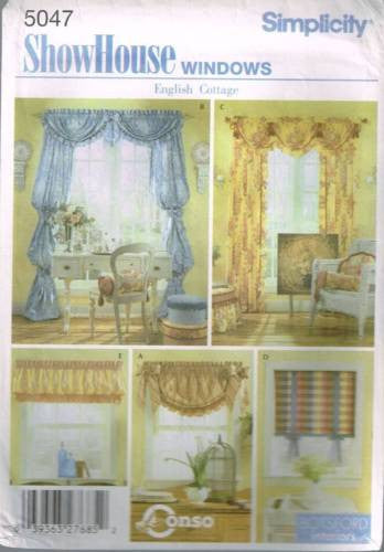 5047 Sewing Pattern Window Treatment Roman Shade Ruffled Swag Valance Bishop