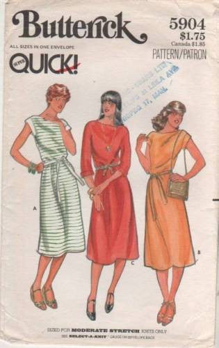 5904 Sewing Pattern Vintage Butterick Ladies Casual Dress S M L