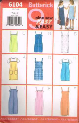 6104 Sewing Pattern Butterick Girls Dress with Straps 7 8 10