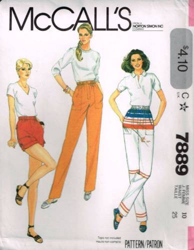 7889 Sewing Pattern Vintage McCall's Ladies Pants Shorts 10