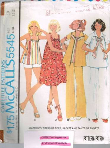 *5545 Sewing Pattern Vintage McCall's Maternity Dress and Top Pants 10 *CUT*