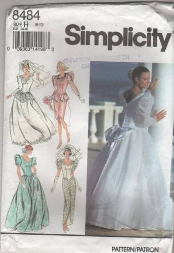 8484 Sewing Pattern Wedding Bridal Gown Dress 6 8 10