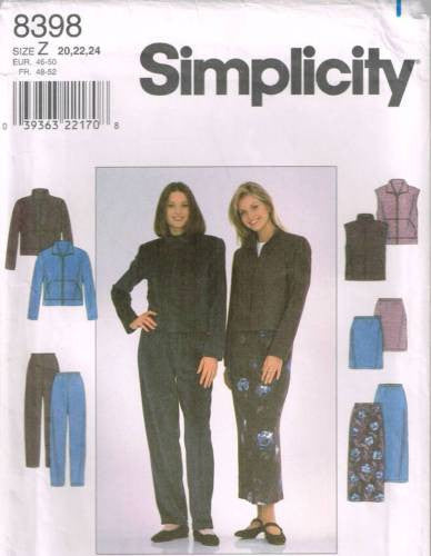 8398 Sewing Pattern Ladies Jacket Vest Skirt Pants Plus Size 20 22 24
