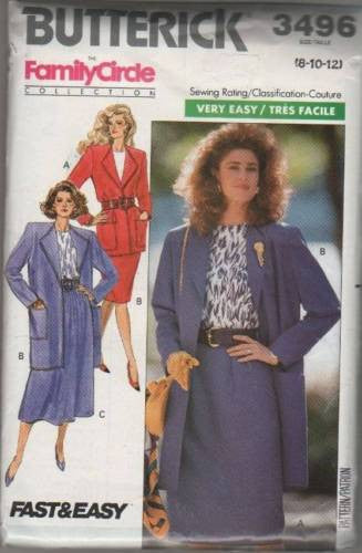 3496 Sewing Pattern Butterick Ladies Family Circle Jacket Blouse Skirt 8 10 12