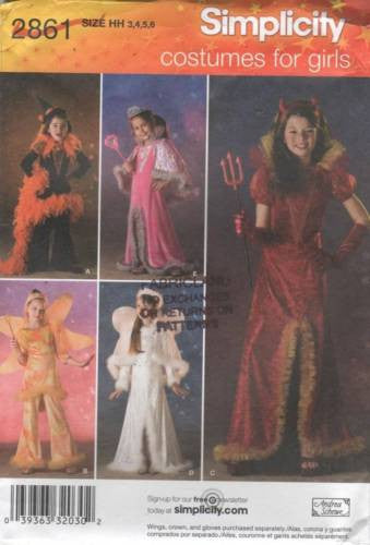 *2861 Sewing Pattern Halloween Costume Girls Devil Angel Princess 3 4 5 6