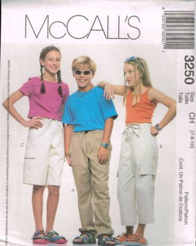 3250 Sewing Pattern McCall's Kids Unisex Shorts and Pants 7 8 10