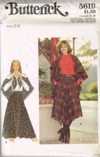 5619 Sewing Pattern Vintage Butterick Ladies Skirt Shawl Waist 28
