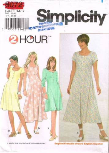 8072 Sewing Pattern Simplicity Ladies 2 Hour Dress 6 8 10
