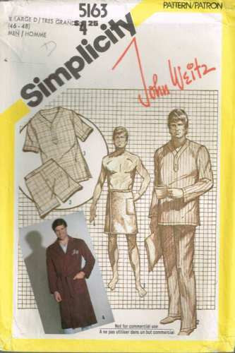 5163 Vintage Sewing Pattern Pajamas Robe Towel Wrap John Weitz L(46-48)