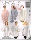 7171 Sewing Pattern McCall's Ladies Shirt Tucked Front Ruffles Insert XS S M