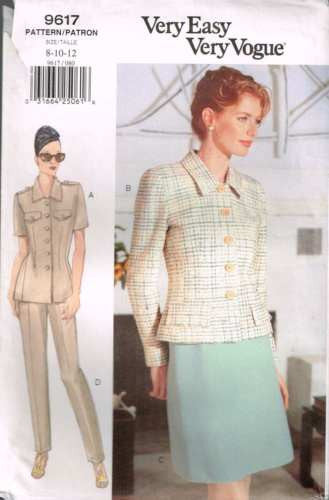 9617 Sewing Pattern Vogue Ladies Jacket w Darts Skirt Pants 8 10 12