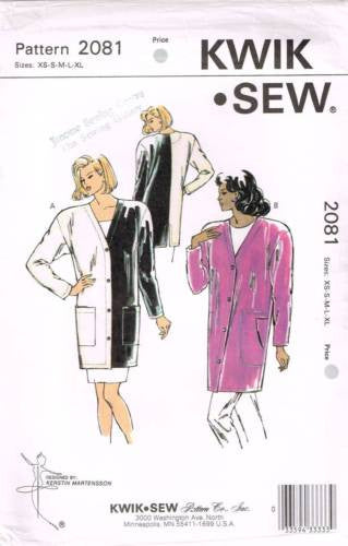 K2081 Sewing Pattern Kwik Sew Ladies Color Blocked Cardigan Jacket XS S M L XL