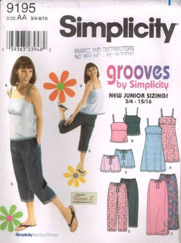9195 Sewing Pattern Grooves Junior Ladies Camisole Dress Pants Shorts 3/4-9/10