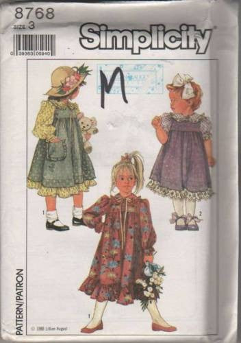 8768 Sewing Pattern Girls Dress and Jumper Apron 3