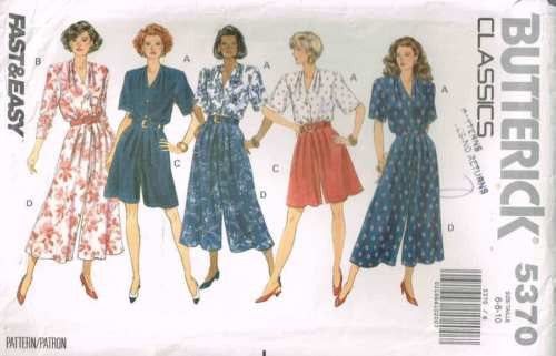 *5370 Sewing Pattern Butterick Ladies Culottes & Blouse 6 8 10
