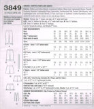 3849 Sewing Pattern Juniors Cropped Pants and Shorts includes Suspenders 3/4 5/6
