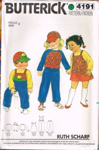 4191 Sewing Pattern Vintgae Butterick Kids Jumper Sweatshirt Overalls Hat 3