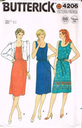 4206 Sewing Pattern Vintage Butterick Ladies Dress and Jacket 12