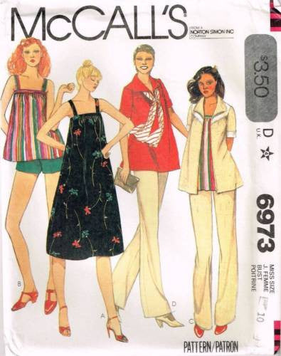 6973 Sewing Pattern Vintage McCall's Maternity Smock Top Dress Jacket Pants 10