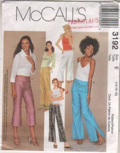 *3192 Sewing Pattern McCall's Ladies Low Rise Flared Leg Pants 14 16 18