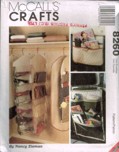 V8260 Sewing Pattern McCall's Craft Organizers Clothes Bags Gift Paper Purse