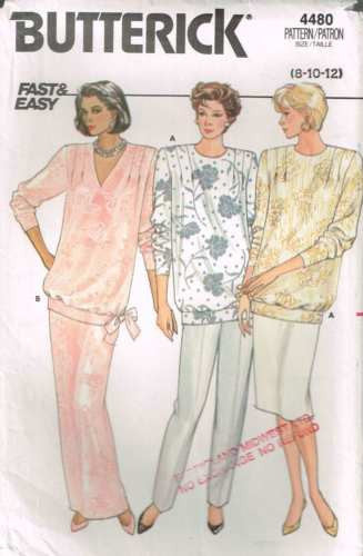 4480 Sewing Pattern Vintage Butterick Maternity Top Skirt Pants 8 10 12