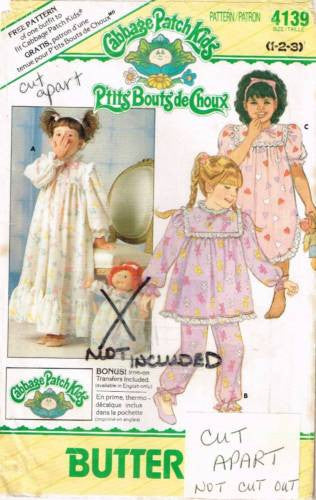 4139 Sewing Pattern Vintage Girls Romantic Victorian Pajamas Nightgown 1 2 3