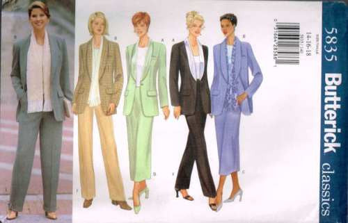 5835 Sewing Pattern Butterick Ladies Long Jacket Skirt Pants 14 16 18