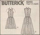 6203 Sewing Pattern Butterick Ladies Button Front Dress 6 8 10