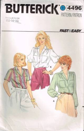 4496 Sewing Pattern Butterick Ladies Blouse Gathered Shoulders 12 14 16