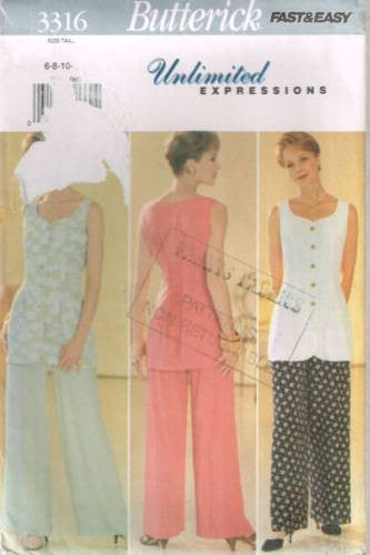 3316 Sewing Pattern Butterick Ladies Top and Pants 6 8 10