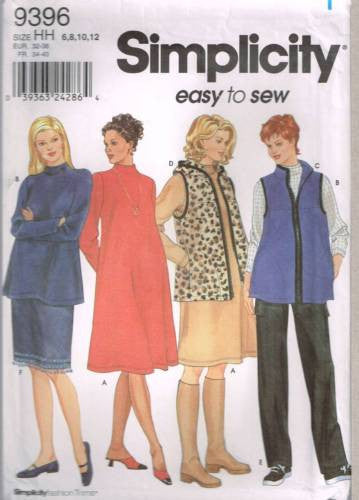 9396 Sewing Pattern Maternity Dressw Top Skirt Vest Pants 6 8 10 12