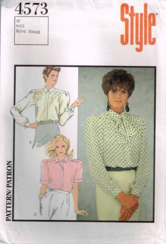 4573 Sewing Pattern Style Ladies Blouse with Gathered Shoulder Seams 10